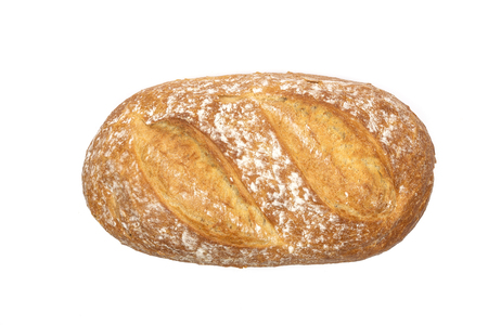 Top view of a fresh loaf bread isolated on a white background in close-up ( high details) Stock Photo