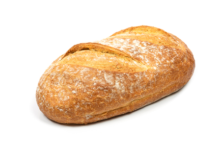 Fresh loaf bread isolated on a white background in close-up ( high details)