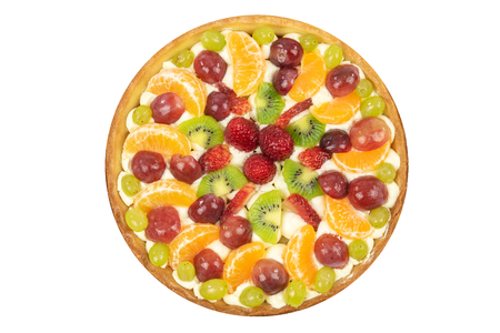 Top view of a fresh homemade multi-fruit tart cake isolated on a white background (high details).