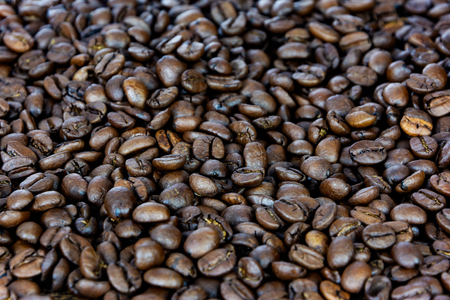 Premium coffee background - many roasted brown beans in close-up as a texture (high details). Stock Photo