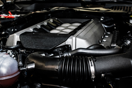 High power car engine in close up Stock Photo