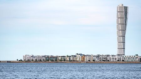 Malmo, Sweden - July 22, 2017: The west harbor area with the Turning Torso skyscraper in Malmo. 에디토리얼