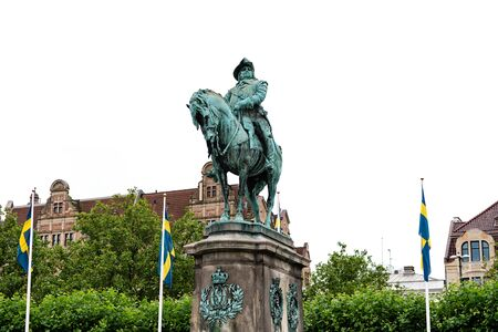 Malmo, Sweden - July 25, 2017:  Stortorget square with the equestrian statue of King Karl X Gustav sculpted by John Borjeson