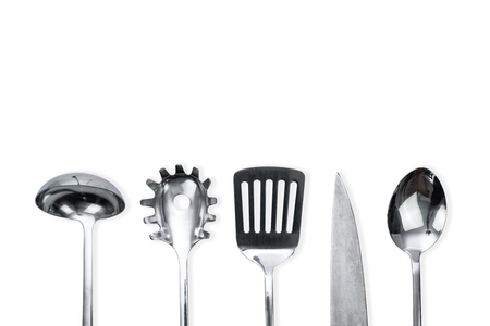 Top view of a silver kitchen utensil collection isolated on white background with copy space 写真素材