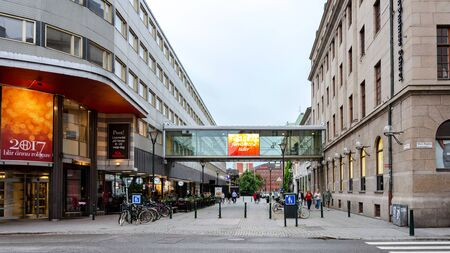 Malmo, Sweden - July 25, 2017:  Panoramic view of Stora Nygatan and Malmborgsgatan Street in the centre of Malmo in Sweden. Malmo is the largest city of Skane County and the third largest city in Swed
