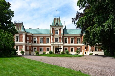 Hackeberga, Sweden - July 22, 2017: The old castle of Hackeberga built in 1873 in late renaissance style and located near to Malmo city in Skane, Sweden 에디토리얼