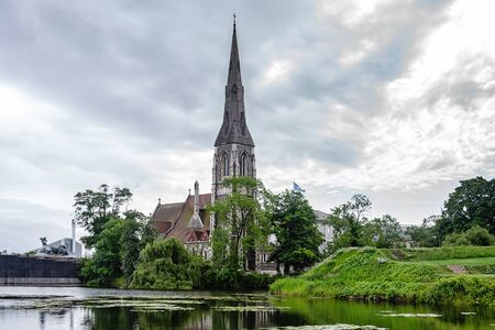 Copenhagen, Denmark - July 24, 2017: Famous St Albans Anglican Church in Copenhagen.  Church designed by Arthur Blomfield in Gothic Revival style and built in 1887.