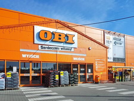 Nowy Sacz, Poland - February 28, 2019: Exterior view of the OBI Home Improvement supermarket. OBI GmbH & Co is the largest DIY retailer in Europe.