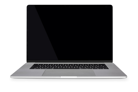 Front view of a generic modern laptop with a black screen and isolated on a white background (copy space).