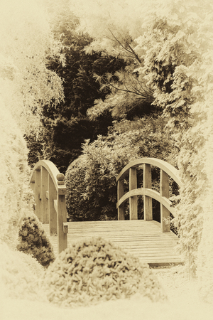 Archival japanese garden with wooden bridge among trees (vintage retro effect)