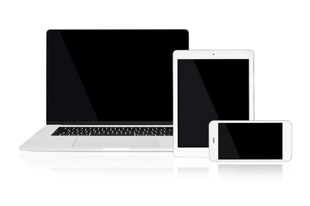 Set of modern technology devices template for responsive design presentation including: laptop, tablet and smartphone.
