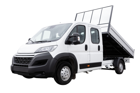 Generic delivery truck with raised load isolated on a white background