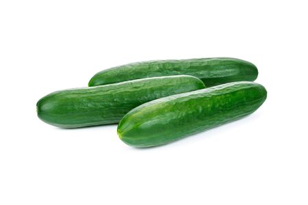 Group of tasty fresh cucumbers from organic farm isolated on a white background in close-up (high details).
