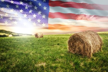 National agricultural industry concept - idyllic farm field with hay bales on on the background of the USA flag (mixed). Banque d'images
