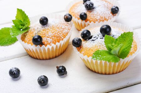 Fresh homemade blackcurrant muffins with mint leaves on a wooden white table in rustic style.