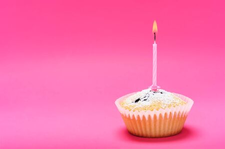 Celebration or holiday event concept - single muffin cake with burning candle on a pink background (copy space).