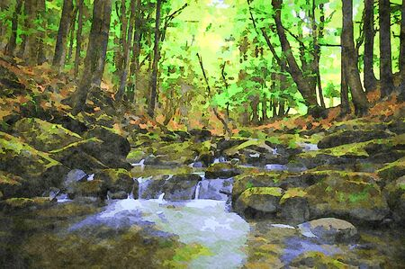 Digital art painting canvas - picturesque mountain stream in a deep spring forest (watercolor effect). 스톡 콘텐츠
