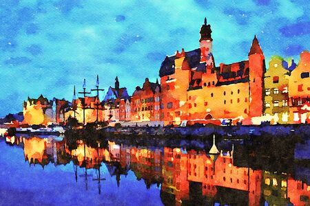 Digital art painting canvas - beautiful landscape of the old town in Gdansk over Motlawa River at dusk in Poland (watercolor effect).