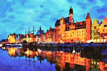 Lienzo de pintura de arte digital: hermoso paisaje del casco antiguo de Gdansk sobre el río Motlawa al atardecer en Polonia (efecto acuarela).
