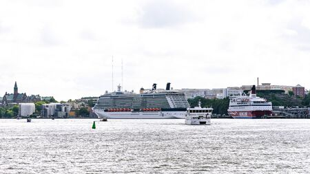 Stockholm, Sweden - August 09, 2019: Cruise ships in the harbour of Stockholm. Stockholm is the capital and largest city of Sweden.