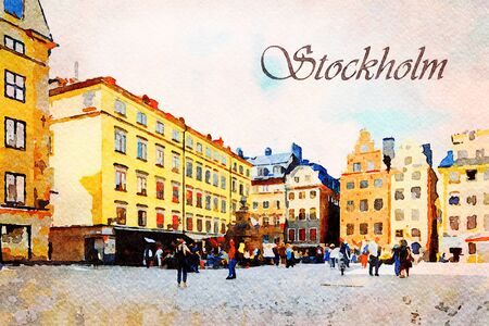 Digital art painting canvas - colorful facade of historic patrician houses in Stortorget Square in  the Old Town of Stockholm in Sweden with tourists (watercolor effect)