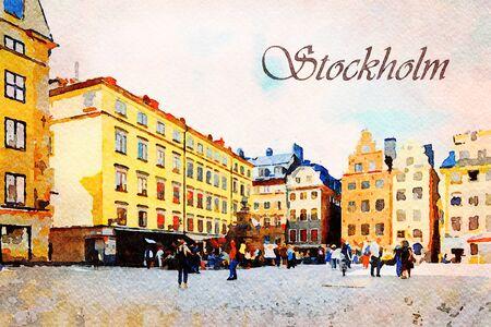 Lienzo de pintura de arte digital - colorida fachada de históricas casas patricias en Stortorget Square en el casco antiguo de Estocolmo en Suecia con turistas (efecto acuarela)