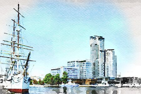 Digital art painting canvas - Cityscape and  the Gdynia harbour with Gift of Pomerania Tall Ship and modern architecture buildings (watercolor effect)