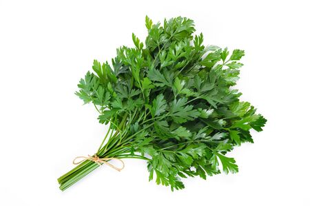 Bunch of fresh parsley isolated on a white background 스톡 콘텐츠