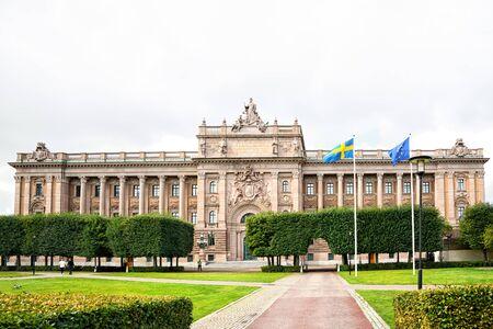 Stockholm, Sweden - August 09, 2019: Exterial view of Riksdagshuset in Stockholm - headquarters of swedish parliament. Redakční