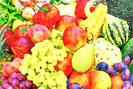 Digital art painting canvas - various organic products exposition of fresh vegetables and fruits (watercolor effect) 免版税图像