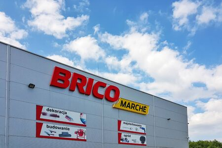 Brzesko, Poland - July 12, 2019: Exterior view of the BricoMarche Store. Bricomarche is famous home-improvement and gardening retailer. Editorial