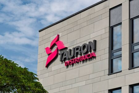 Krakow, Poland - July 12, 2019: Exterior view of the Tauron Dystrybucja office building. Tauron Dystrybucja S.A is a part of the largest polish energetic holding Tauron Energia S.A.