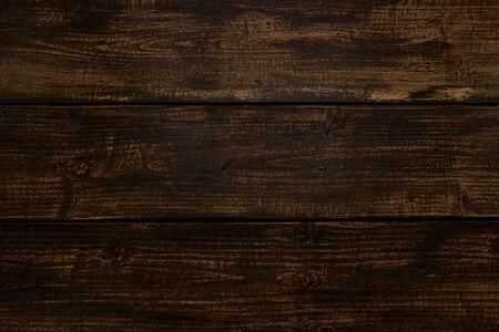 Old Vintage dark brown wooden table background (high details) Imagens