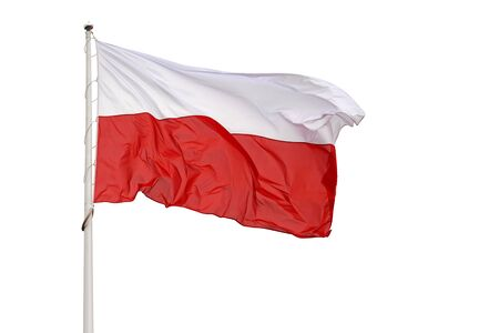 National flag of Poland waving on a white background  Stock Photo