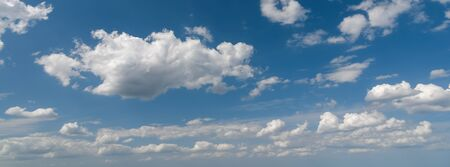 Wide panorama of scenic cloudy blue sky (high details)