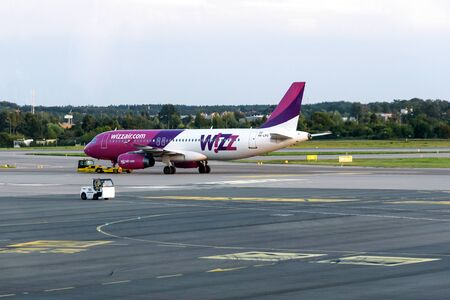 Gdansk, Poland - August 14, 2019: Wizzair airplane at the international airport in Gdansk. Wizzair is one of the largest low-cost airline based in Hungary.