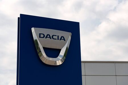 Krakow, Poland, July 12, 2019:  Dacia logo on the car dealership banner. Dacia is a Romanian car and automotive manufacturer, part of Renault group