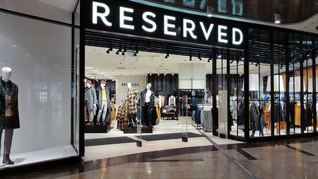 Nowy Sacz, Poland - October 28, 2019: Exterior view of the Reserved Store. Reserved is a famous Polish international clothing store chain.