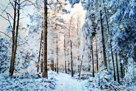 Digital art painting canvas - beautiful winter landscape: white and snowy pathway among trees in a deep forest on a sunny and cold day.