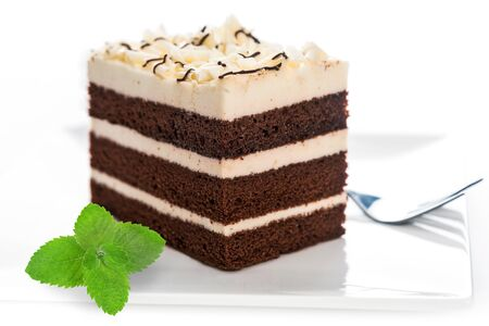 Delicious multilayer homemade cocoa sponge cake with sugar mass on a plate with a fork and mint leaf in close-up