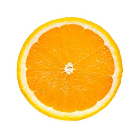 Perfect round slice of fresh orange fruit isolated on white background without shadows (high details)