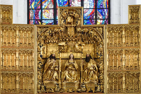Gdansk, Poland - August 12, 2019: Close-up of the main altar of St. Mary's Church  (Basilica Mariacka) in Gdansk. Tha altar  is the work of Michael of Augsburg. Redactioneel