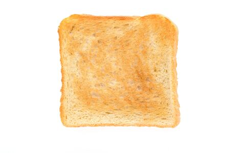 Slice of toasted bread isolated on a white background in close-up (high details)