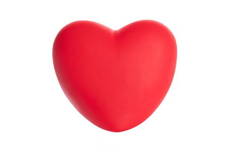 Studio shot of perfect puffy and shiny red heart isolated on a white background - ideal for your medical or valentine project.