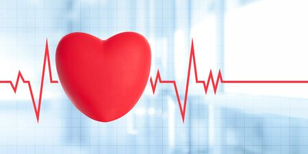 Medical advertisement banner - Illustration of red heart pulse heartbeat line electrocardiogram on a blurred hospital background