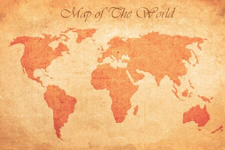 Grunge map of the world on an ancient vintage sheet of paper with text title