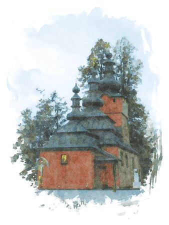 Digital art painting canvas - Lemko wooden Orthodox Church  of St. Michael the Archangel in Wysowa Zdroj in Poland (watercolor effect)