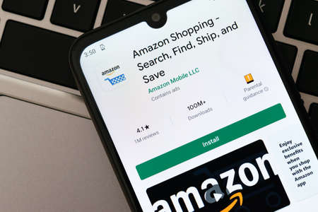 Krakow, Poland - September 30, 2020: Amazon application  in Google Play store. Amazon is the most famous online retailer in the world