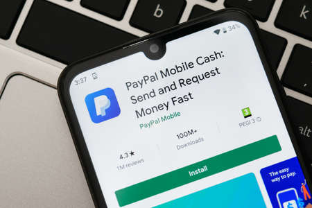 Krakow, Poland - September 30, 2020:  PayPal application  in Google Play store. PayPal is an online electronic finance payment system. Editorial