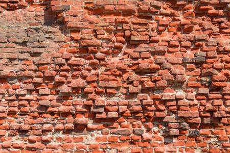 Full frame background of old broken red bricks wall (high details) Standard-Bild - 157280582